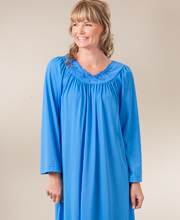 Plus Shadowline Petals Long Sleeves Long Nightgown - Sapphire