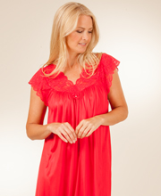 Shadowline Silhouette Short Gown - Flutter Sleeves Nightgown in Red