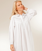Plus Size Sleepwear - La Cera Long Sleeve White Cotton Collared Gown