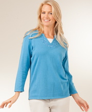 Plus Cotton-Rich Knit Long Sleeve V-Neck Sweater in Blue