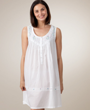 White Sleepwear Cotton Embroidered Sleeveless Short Gown by La Cera
