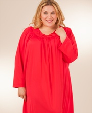 Plus Shadowline Petals Long Sleeves Long Nightgown - Red