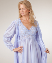 Shadowline Silhouette Long Gown/Robe Peignoir Set - Peri Frost
