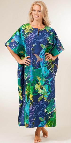 100% Cotton Lounger Caftan by Peppermint Bay - Tropical Burst
