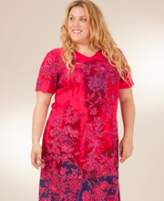 Plus Size La Cera Casual Dress - Short Sleeve Dress - Magenta Paradise