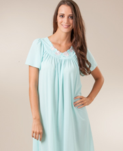 Plus Shadowline Petals Flutter Sleeves Waltz Nightgown - Seafoam