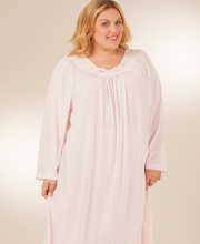 Plus Shadowline Petals Long Sleeve Long Nightgown - Pink