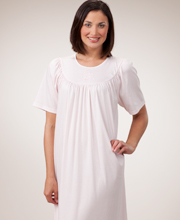 Cotton Nightgowns by Calida - Knit Short Sleeve Nightgown in Pink