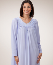 Plus Shadowline Petals Long Sleeves Long Nightgown - Peri