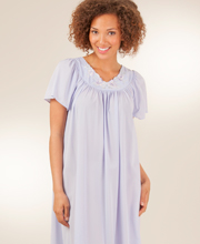 Sale - Shadowline Petals Peri Flutter Sleeves Long Nylon Nightgown
