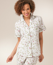 La Cera Cotton Pajamas - Short Sleeve in Blooming Vines Print