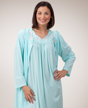 Shadowline Petals Long Sleeves Robe - Ballet Length Robe in Seafoam
