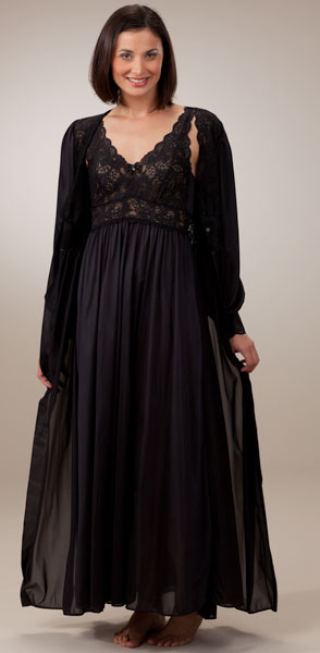 Shadowline Silhouette Robe/Gown Peignoir Set - Black