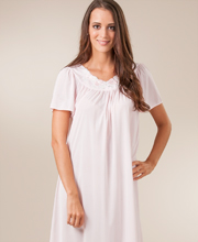 Sale - Pink Shadowline Petals Long Night Gown with Flutter Sleeves