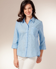 Southern Lady Blouses - Cotton-Rich Embossed Blouse in Light Blue