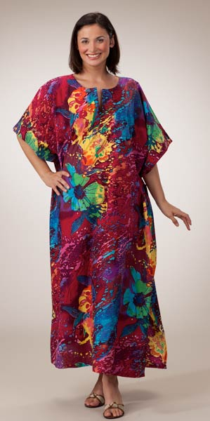 Coco Plum Peppermint Bay 100% Cotton Caftan - Lounger Style