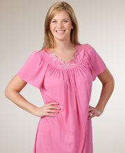 Sale Shadowline Night Gowns Petals Flutter Sleeves Long Rosy Pink Gowns