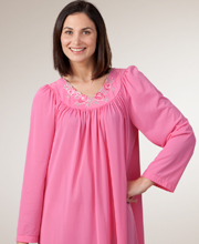 Long Sleeve Nightgown by Shadowline - Long Petals Gown in Rosy Pink