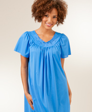 Plus Shadowline Petals Flutter Sleeves Waltz Nightgown - Sapphire