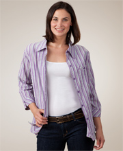 Southern Lady Casual Collared Blouse - Purple Stripe