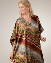 Satin Charmeuse Caftan - One Size Fits Most in Tiamo Beach