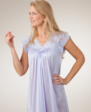 Shadowline Silhouette Flutter Sleeves Long Nightgown - Peri Frost