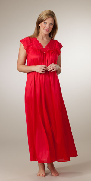 Plus Shadowline Silhouette Flutter Sleeves Long Nightgown - Red