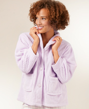 Angel Fleece Bed Jacket Ribbed in Lilac