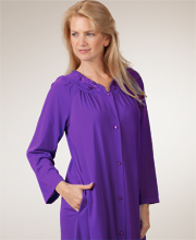 Nylon Petals Long Sleeves Long Robe - Purple Robe by Shadowline
