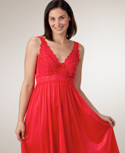 Plus Shadowline Silhouette Sleeveless Long Nightgown - Red