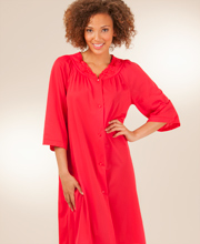 Plus Size Waltz Robe with 3/4-Sleeves - Shadowline Petals in Red