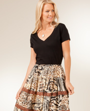 Plus Size Tiered Crinkle Skirt in 100% Cotton By La Cera - Sahara