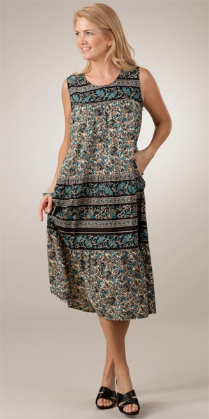 Casual Cotton Dresses - La Cera Teal Paisley Sleeveless Spring Dress