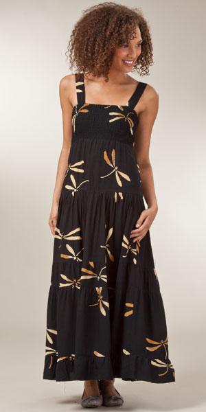Bali Batiks Dresses for Women - Sleeveless Black Dragonfly Maxi Dress