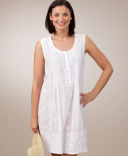 La Cera Embroidered Beach Coverup Sleeveless Semi-Sheer in White