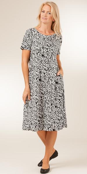 La Cera Womens Casual Dress - Cotton Knit Short Sleeve Black Dress