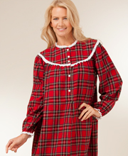 Lanz Long Length Cotton Flannel Night Gown - High Collar in Red Plaid