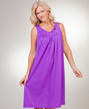Plus Shadowline Purple Petals Sleeveless Waltz Night Gown