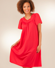 Plus Waltz Nightgown with Flutter Sleeves - Shadowline Petals in Red