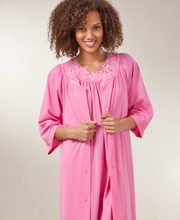 Plus Size 3/4-Sleeve Shadowline Petals Waltz Robe - Rosy Pink
