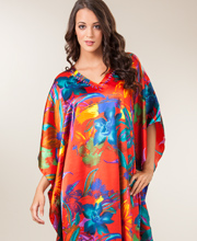 One Size Fits Most Sante Satin Charmeuse Caftan - Mardi Gras