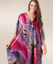 Kaftans for Women - Satin Charmeuse One Size Caftan in Kilaueu Print