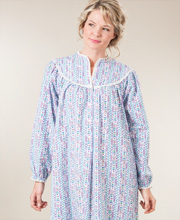 Lanz Cotton Flannel Nightgown in Hearts & Flowers