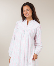 Lanz of Salzburg Cotton Flannel Gown V-Neck Classic Tyrolean Print - Pink Mid-length