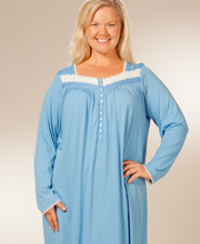 Plus Eileen West Nightgown - Long Sleeve Cotton Modal - Cornflower Blue