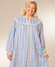 Plus Lanz Nightgown V-Neck in Royal Blue Tyrolean