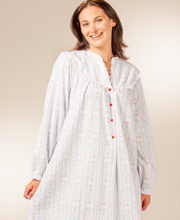 Flannel Nightgowns by Lanz of Salzburg - V-Neck Long in Blue Tyrolean