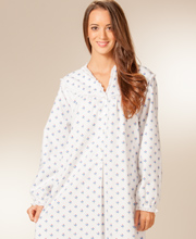Lanz Flannel Night Gown with Classic V-Neckline - Blue Florettes