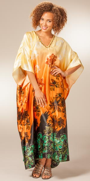 Satin Caftans Sante Women S One Size Charmeuse Caramel