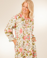 Plus Long Sleeve La Cera Cotton Robe/Button-Front Gown in Vintage Blossom